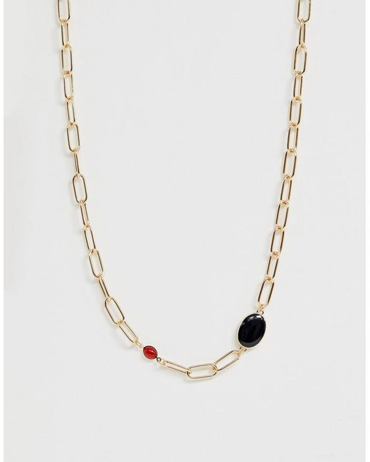ASOS Metallic Necklace In Hardware Chain With Faux Stone And Pearl Details In Gold Tone
