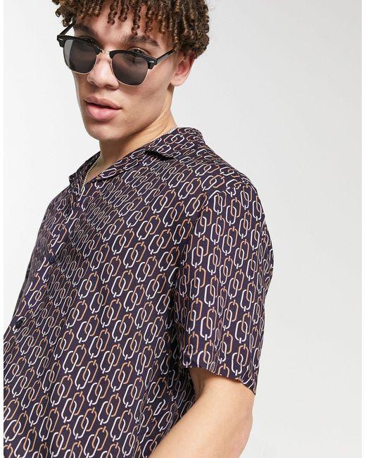 River Island Black Short Sleeve Chain Print Shirt for men