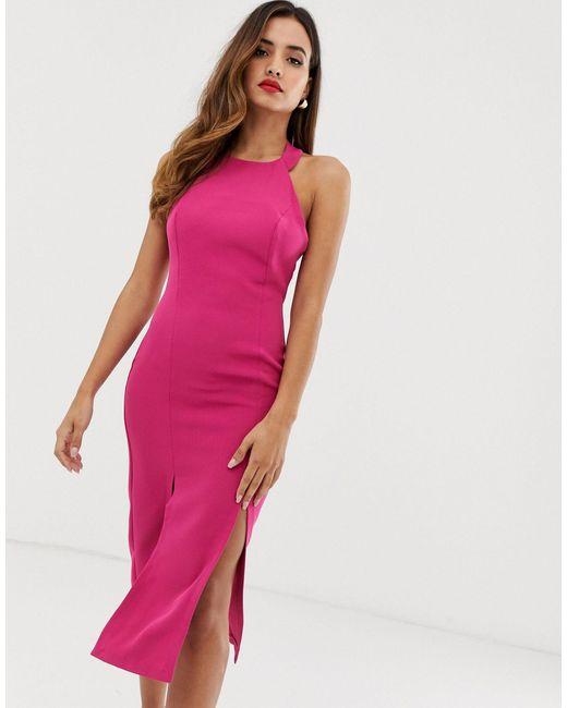 Robe fourreau dos nu fendue devant Vesper en coloris Pink