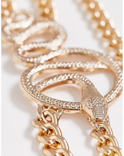 Cintura per vita e fianchi a serpente di ASOS in Metallic