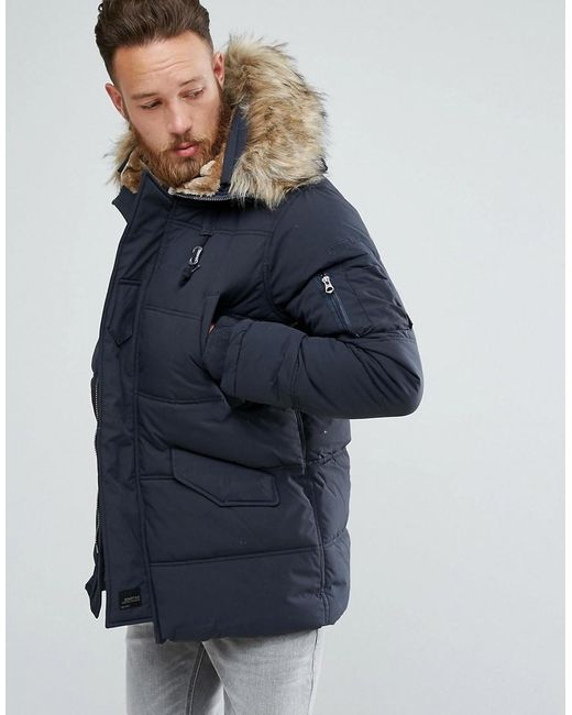 Schott nyc Snork Quilted Parka Hooded Detachable Faux Fur Trim In ...