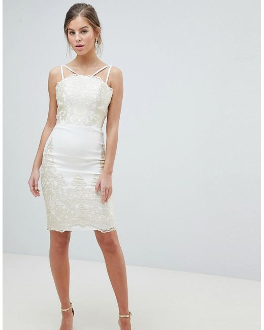 Chi Chi London Natural Lace Detail Pencil Midi Prom Dress With V Back