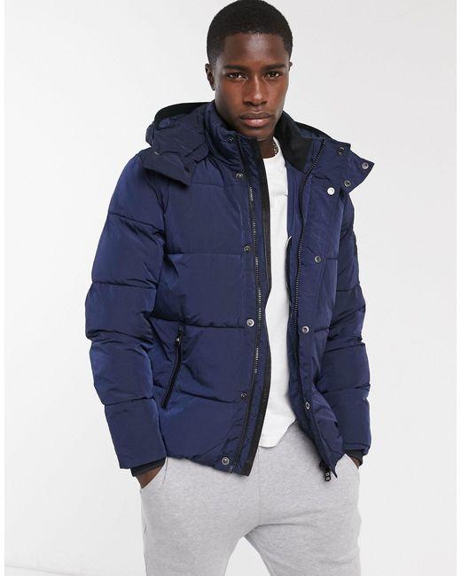Темно-синяя Куртка Средней Длины Из Жатого Нейлона -темно-синий Calvin Klein для него, цвет: Blue