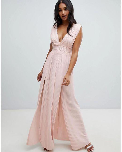 158025001ec ASOS - Pink Premium Lace Insert Pleated Maxi Dress - Lyst ...