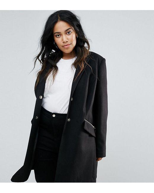 ASOS | Black Slim Boyfriend Coat With Zip Pocket | Lyst