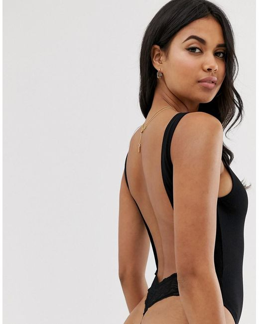 896a97327d41 ... ASOS - Black Rib And Lace Thong Back Bodysuit - Lyst
