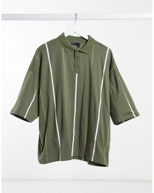 Polo oversize con righe verticali e colletto a punta di ASOS in Green da Uomo
