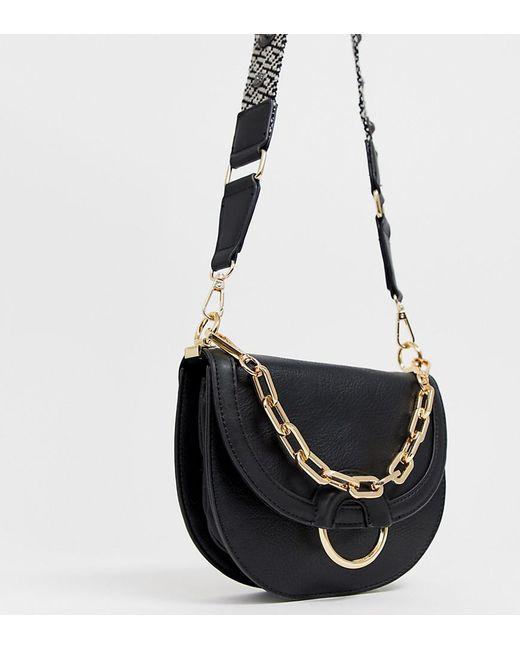 1d6da164dbe ALDO - Bacabe Black Saddle Cross Body Bag With Woven Embroidered Strap -  Lyst ...