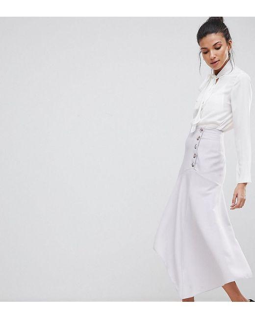 ASOS - Metallic Asos Design Tall Hanky Hem Midi Skirt With Side Button Detail - Lyst