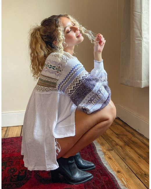 Free People White Cozy Cottage Embroidered Sleeve Top