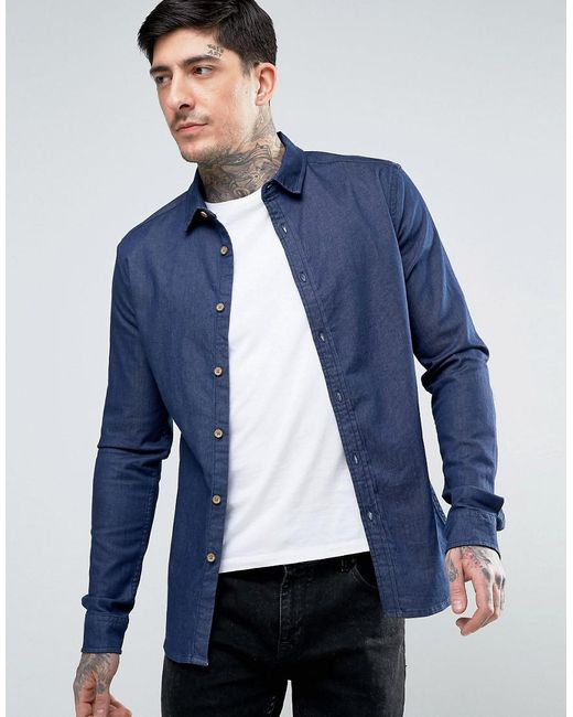 ASOS | Blue Skinny Denim Shirt In Rinse Wash for Men | Lyst