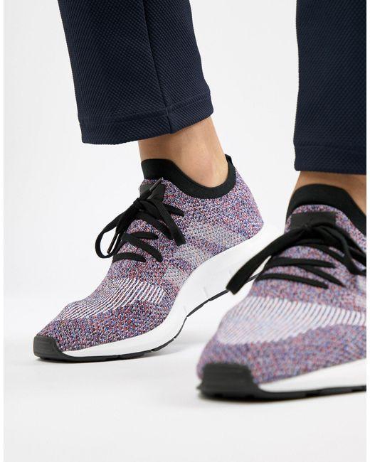 adidas Originals Swift Run Primeknit Trainers in Purple (Black ...
