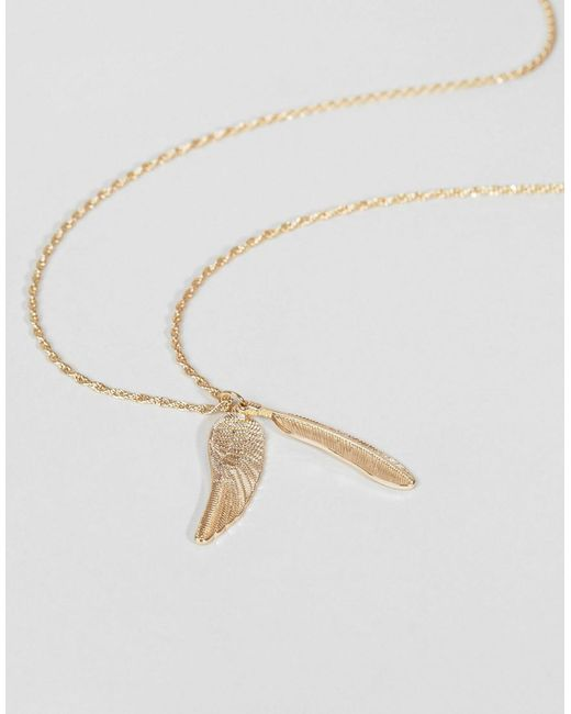 ASOS | Metallic Gold Feather Necklace for Men | Lyst