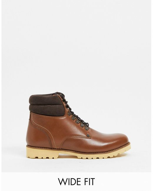 Original Penguin Black Wide Fit Padded Collar Lace Up Boots for men