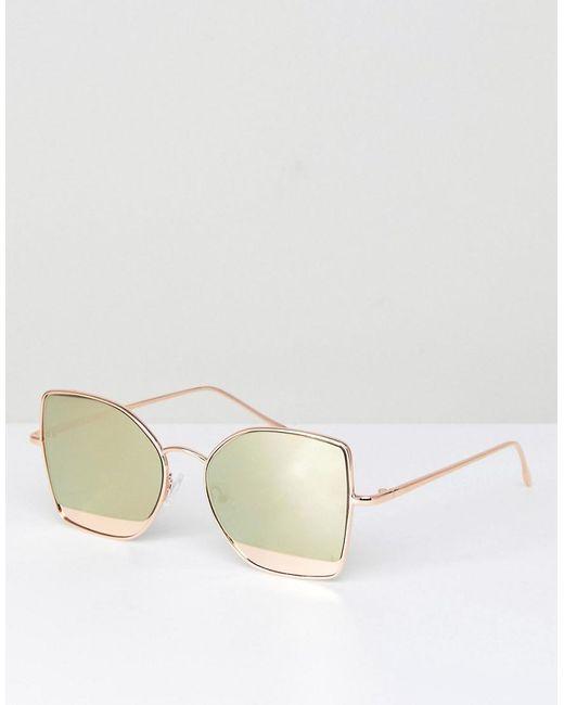 ASOS - Metallic Kitten Cat Eye Sunglasses With Mirror Insert - Lyst