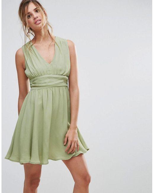 ASOS - Green Soft Ruched Panel V Neck Skater Dress - Lyst