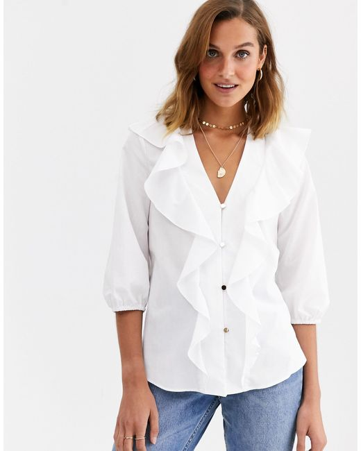 River Island White Frilled Blouse
