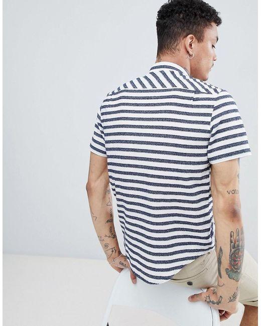 Original Penguin Mens Short Sleeve Stripe Button Down Shirt