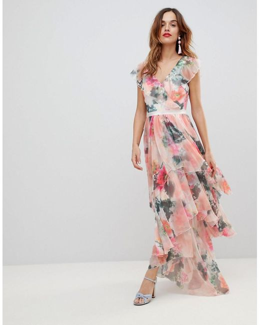 5e978adfdd8 Women's Pink Graphic Floral Print Maxi Dress