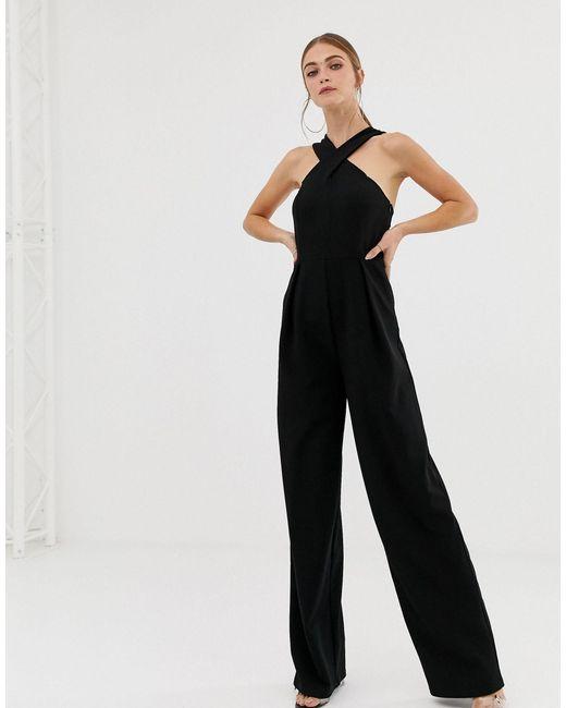 Ladies Square V Neck Sleeveless Strappy Gold Belted Crepe Smart Plain Jumpsuit