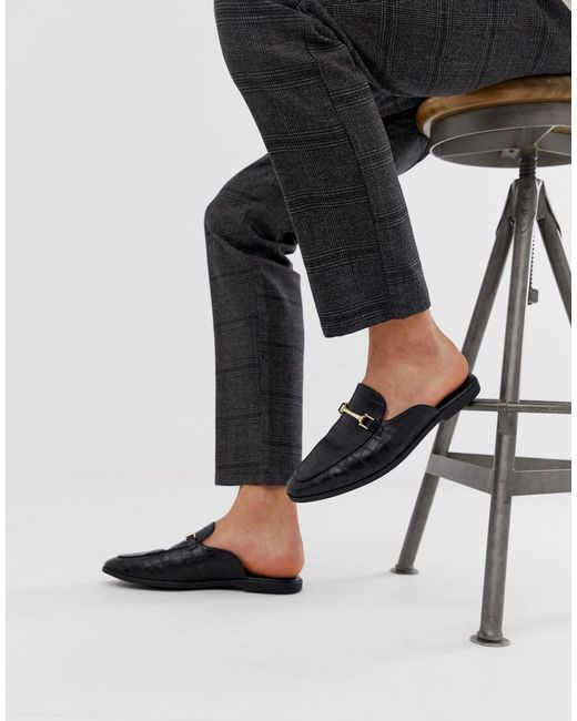 ASOS Leather Backless Mule Loafer in