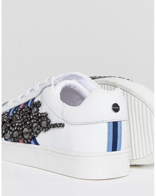 Professional Leather Sneaker With Sports Stripes & Embellishment - White Carvela Outlet Footaction Sale Perfect Cheap Sale Amazon Sale Manchester Great Sale WRIdQv2Wk