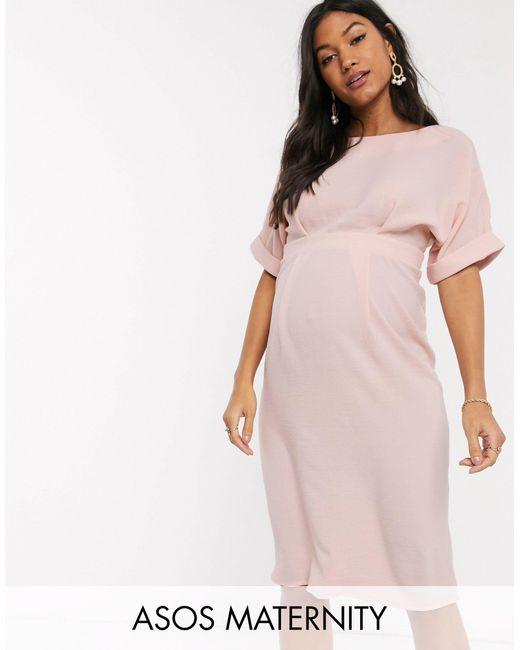 Бледно-розовое Платье Миди ASOS, цвет: Pink