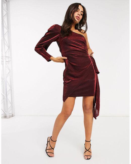 Красное Платье На Одно Плечо С Эффектом Металлик -красный Forever Unique, цвет: Red
