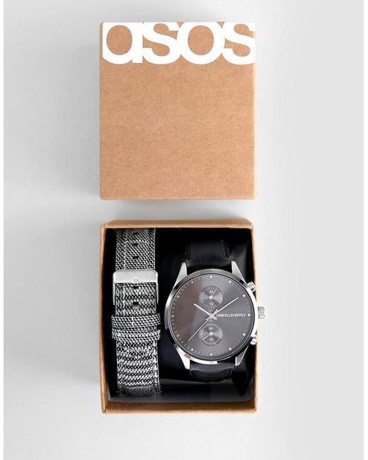 ASOS - Interchangeable Watch In Black And Check for Men - Lyst