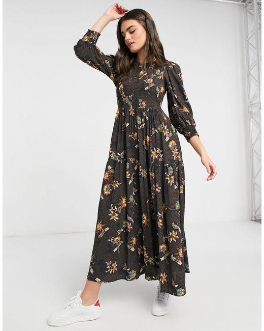 Платье Макси С Ярусной Юбкой И Узором Пейсли -многоцветный Y.A.S, цвет: Black