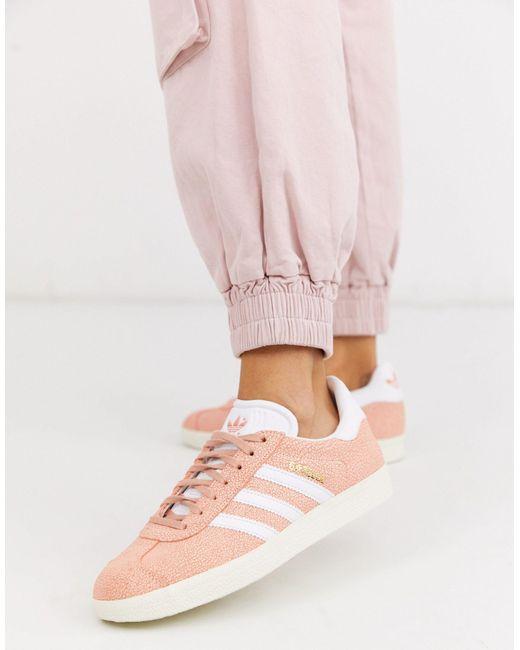 adidas Originals Leather Adidas Gazelle Sneaker-pink - Lyst