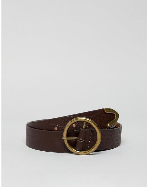 ASOS Brown Circle Tipped Jeans Belt In Croc