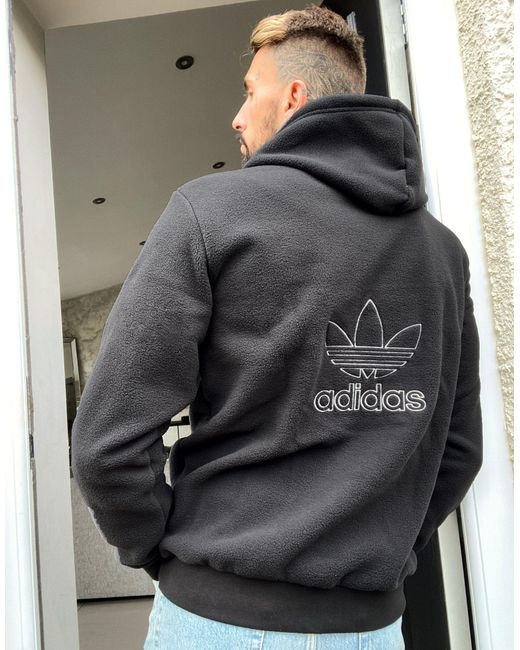 Adidas Originals Black Polar Fleece Hoodie for men