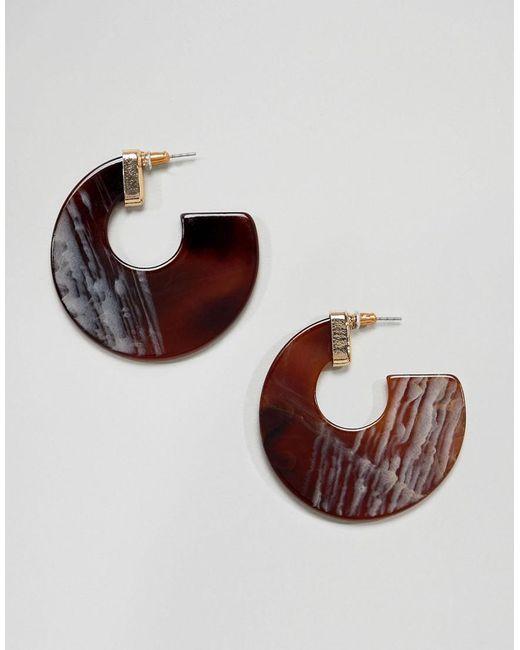 Glamorous - Brown Pearlised Tortoiseshell Hoop Earrings - Lyst