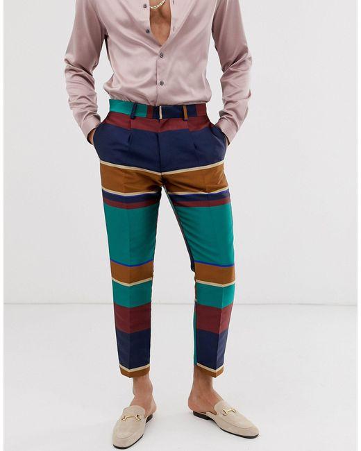 Pantalon élégant court slim à rayures multicolores ASOS pour homme en coloris Green