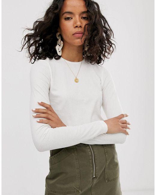 Weekday White – Langärmliges, fein geripptes Shirt