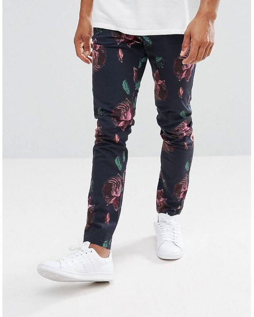 ASOS - Blue Skinny Trousers In Oversized Rose Print for Men - Lyst