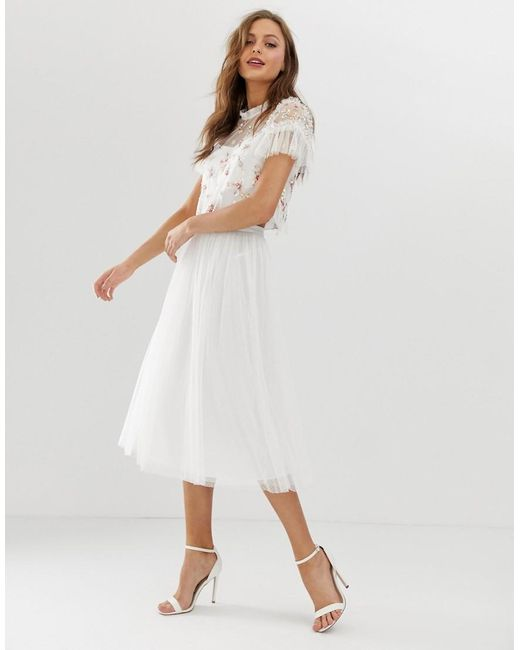Needle & Thread White Dotted Tulle Midaxi Skirt In Ivory