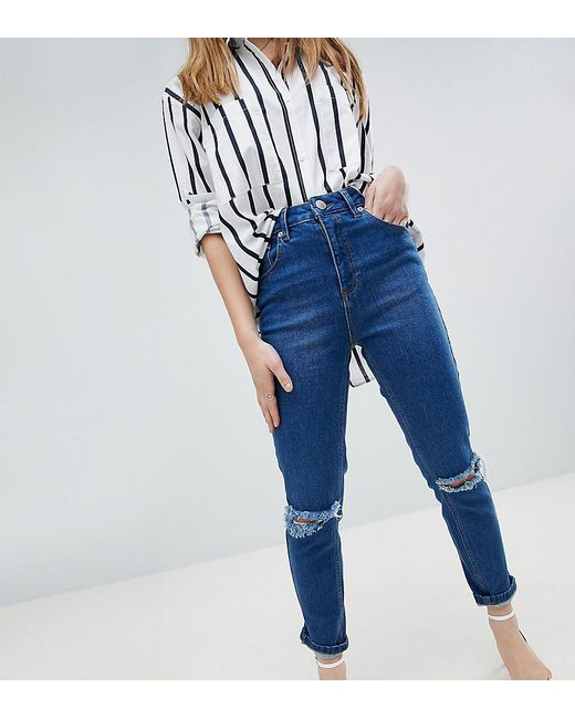 FARLEIGH High Waist Slim Mom Jeans in Bonnie Wash with Super Wide Busted Knee - Bonnie Asos Where To Buy Low Price Find Great For Sale KQ3U9bkY