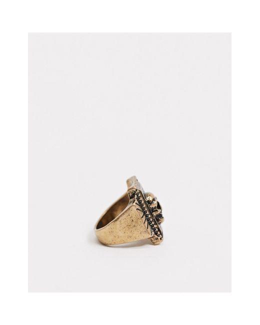 Золотистое Кольцо-печатка С Черепом Inspired-золотой Reclaimed (vintage) для него, цвет: Metallic
