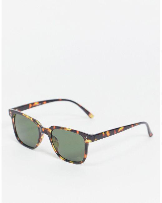 Квадратные Солнцезащитные Очки В Черепаховой Оправе С Зелеными Стеклами ASOS для него, цвет: Brown