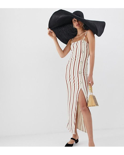 1a39421da2a2 River Island - Red Slip Dress With Side Split In Stripe - Lyst ...