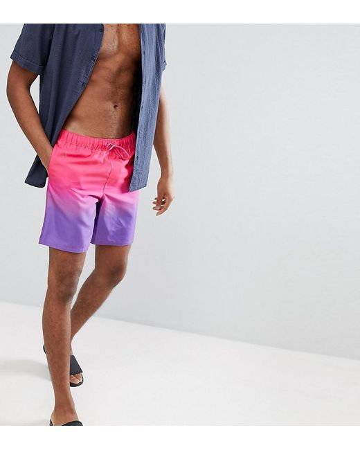 Natural And Freely Free Shipping Manchester DESIGN Swim Short In Purple With Neon Drawcord In Mid Length - Purple Asos FQdASN7TF