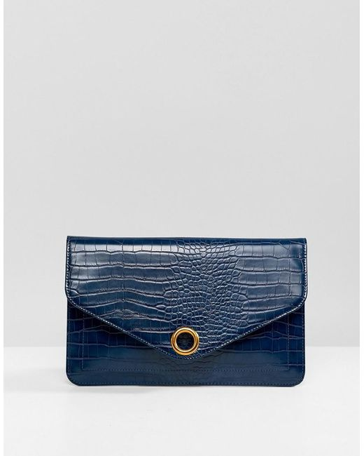 ASOS - Green Croc Envelope Clutch Bag With Ring Detail - Lyst
