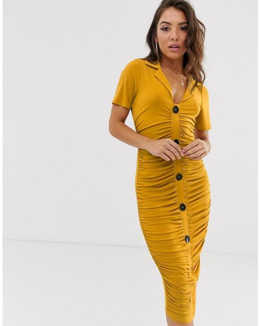 926771a9a559 ASOS - Yellow Midi Ruched Dress With Buttons - Lyst ...