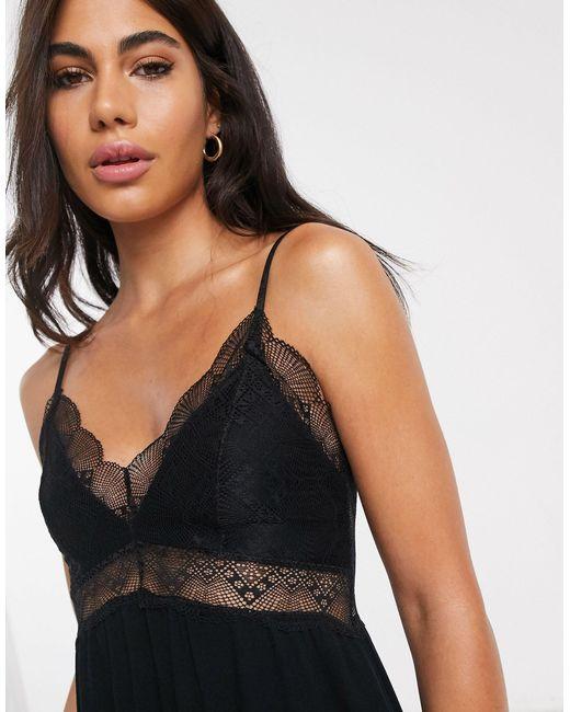 Ночная Сорочка С Кружевной Отделкой -черный Vila, цвет: Black