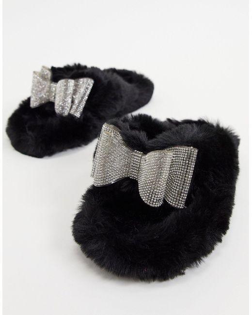 Черные Слиперы С Отделкой Стразами Bunnie-черный Цвет Public Desire, цвет: Black