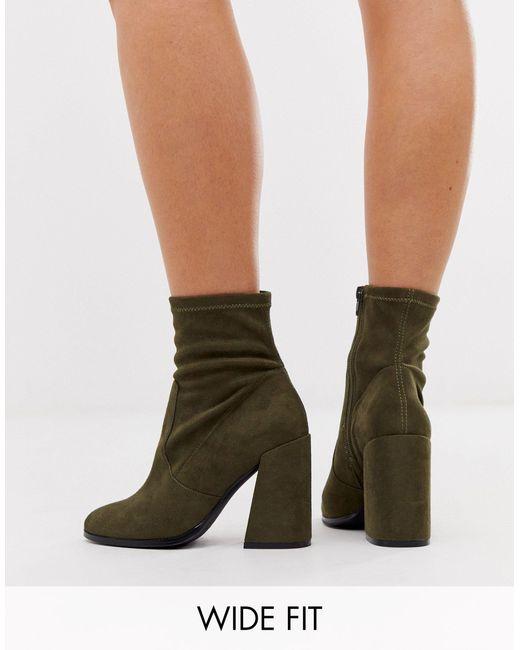 Wide Fit Ellan Heeled Sock Boots