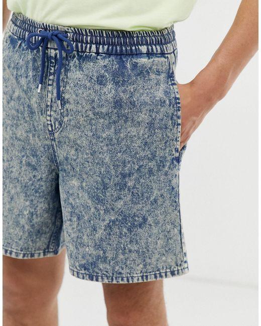 Pantaloncini di jeans corti con vita elasticizzata lavaggio acido di ASOS in Blue da Uomo