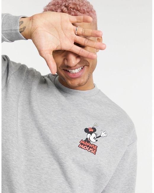 Серый Меланжевый Свитшот С Принтом Минни Маус На Груди ASOS для него, цвет: Gray